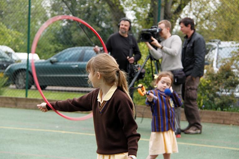 Film crew with children